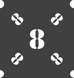 Number eight icon sign seamless pattern on a gray vector