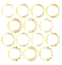 Gold circle frames vector