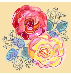 Peach pink red roses small bouquet vector