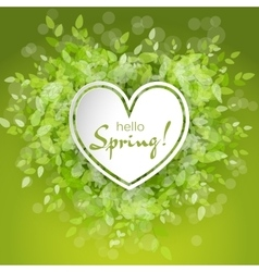 White heart frame with text hello spring vector