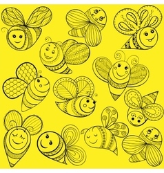 Bees for adult coloring page hand drawn vector