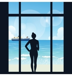 Silhouette of woman standing looking to sea view vector