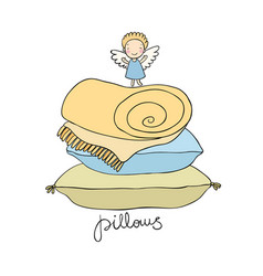 Beautiful pillows and cute little angel vector