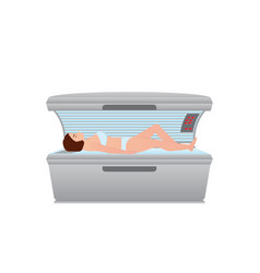 Beautiful sexy woman tanning in solarium on white vector