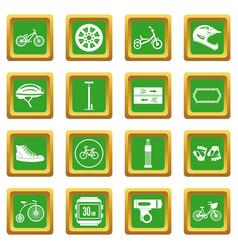 Biking icons set green vector