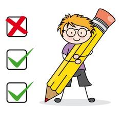 Boy filling a questionnaire vector