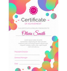 certificate template diploma design with fluid vector image vector image