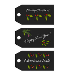 collection of christmas sale tag vector image