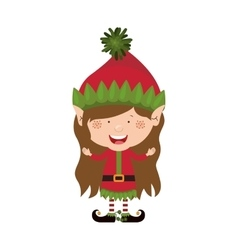 Color image with christmas gnome girl vector