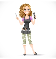 Cute girl hairdresser with hair clipper vector