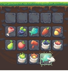 Feed the fox gui match 3 game items vector