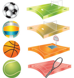 Football basketball volleyball tennis field and vector