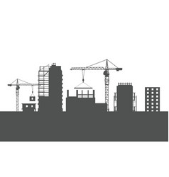 Four unfinished buildings two cranes colourless vector