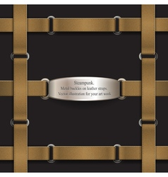 Frame made of leather belts steampunk vector