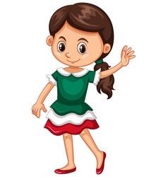 girl in green dress vector image vector image