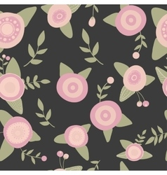 Hand drawn seamless pink flowers pattern doodle vector image vector image