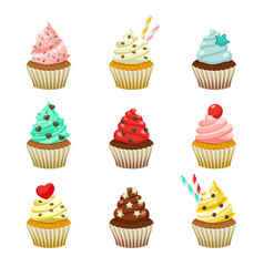 icon set of yummy colored cupcakes vector image vector image