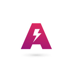 Letter a lightning logo icon design template vector