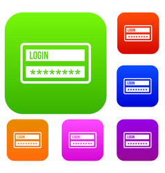 Login and password set collection vector