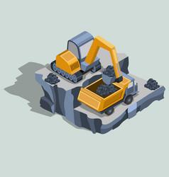 Mining excavator loads coal in a dump truck vector