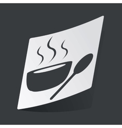 Monochrome hot soup sticker vector image vector image