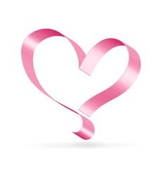 Pink ribbon heart symbol vector image
