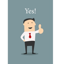 Positive businessman giving a thumbs up vector