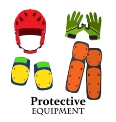 Protection equipment for bike gear for bicycle in vector