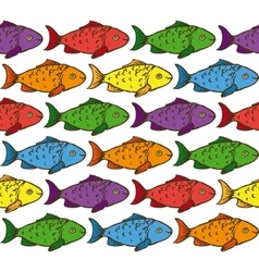 Rainbow fish seamless pattern vector