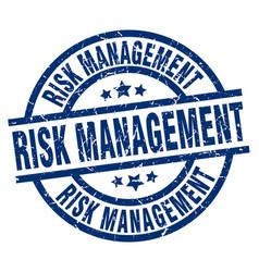 Risk management blue round grunge stamp vector