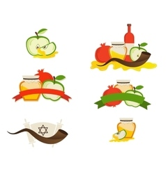 Rosh hashana labels and icons jewsh holiday vector