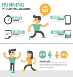 Running activity people infographic elements set vector