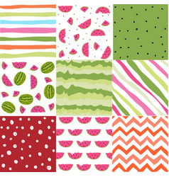 seamless pattern with watermelon set scrapbooking vector image vector image