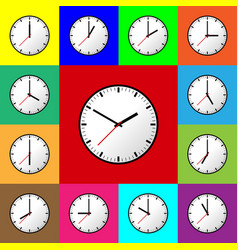 Set clock icon flat design vector