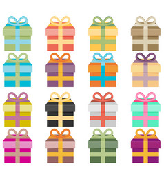 set of icons of gift boxes vector image vector image