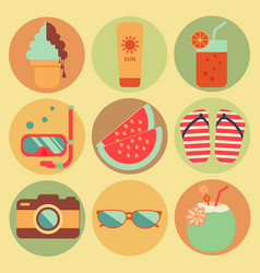 Summer beach holiday icons set design vector