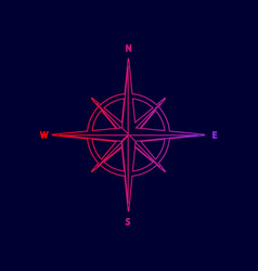 Wind rose sign line icon with gradient vector