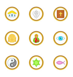 World religion icons set cartoon style vector