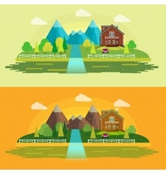 Flat design nature landscape with sun vector
