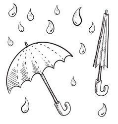 Doodle umbrella vector