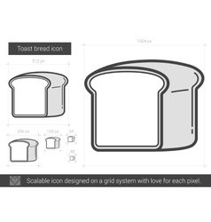 Toast bread line icon vector