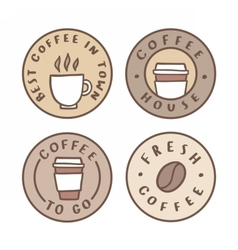 Set of badges coffee house take away vector