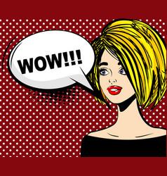 surprised blonde pop art wow vector image