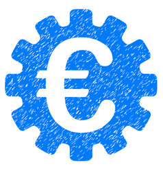 Euro gear icon grunge watermark vector