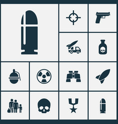 army icons set collection of glass weapons vector image