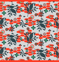 floral lace blue and red seamless pattern vector image