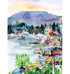 Original watercolor painting on paper vector