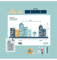 architect drawings vector image