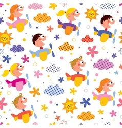 Kids in airplanes pattern vector