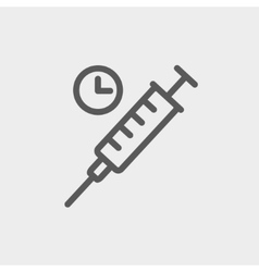 Syringe thin line icon vector